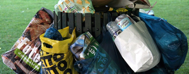 Skaldespandene i Kongens Have er fyldte til randen om morgenen, her lidt før kl. 07.00. Skrald, plasticposer, flasker, pap, pizzakasser flyder ud over græsset og stien.